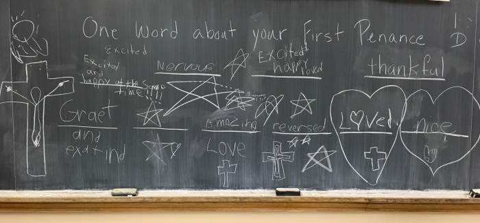 Post Penance words on chalkboard